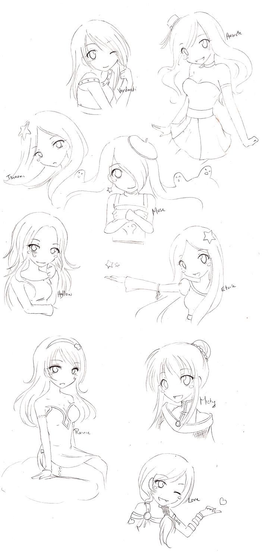 RotG OC chibi sketches by AsakuraMei