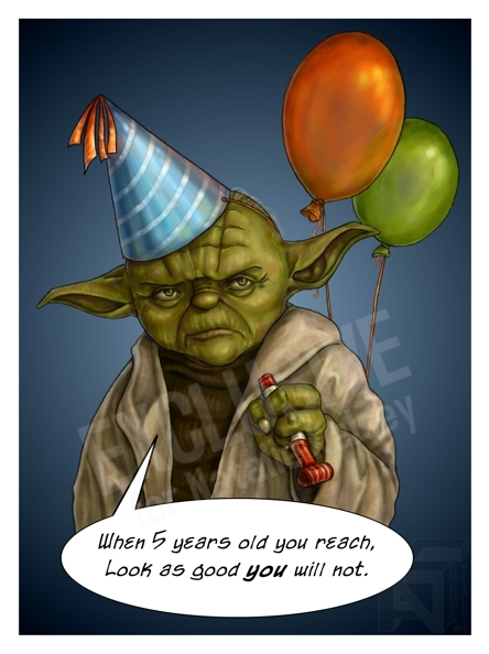 Yoda Birthday Cake Card