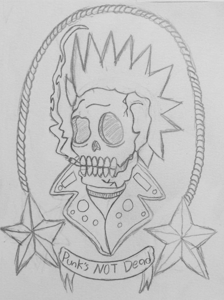 Punks not dead tattoo pencil sketch by 19swasted space