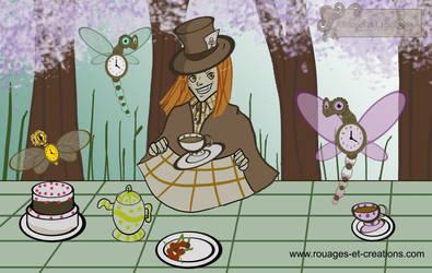 Tea Party with steampunk dragons fairys by Emma-O-Lantern