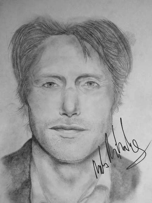 Mads Mikkelsen Portrait (signed) by cannibaldad