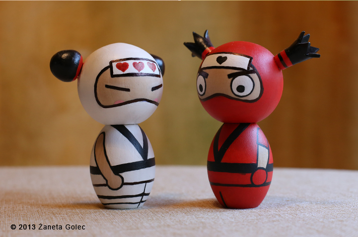 Pucca and Garu Inspired Kokeshi. Ninjas. by ZanetaGc