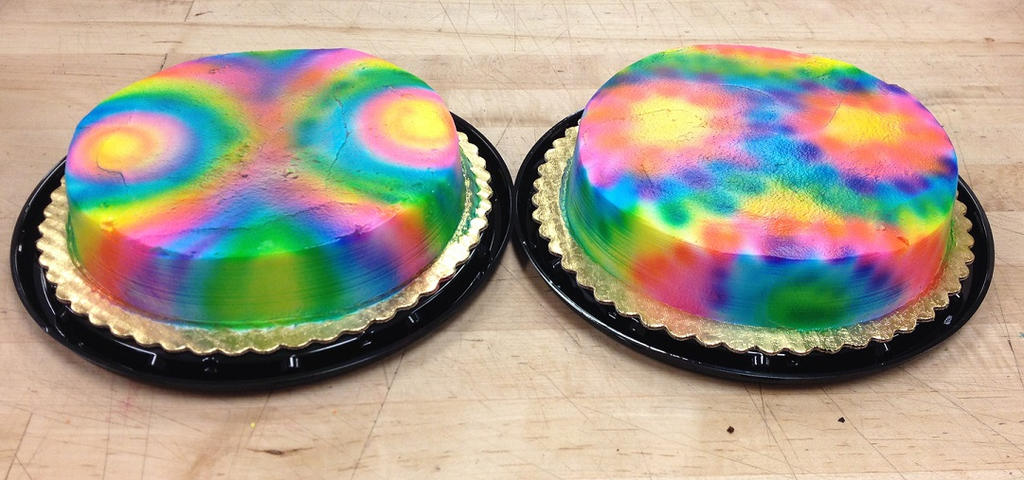 Two round tie dye cakes side by side by LucyQ602 on DeviantArt
