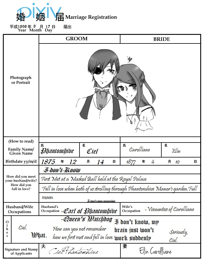 Ciel and Elin's Marriage Certificate by Purinsesu-Akari
