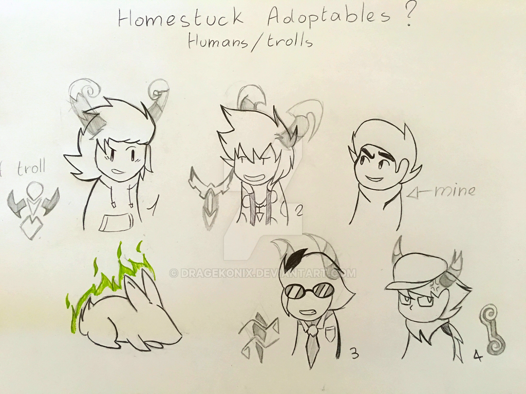 Homestuck adoptables (OPEN) - Discount 10 to 5 pts by DrageKonix