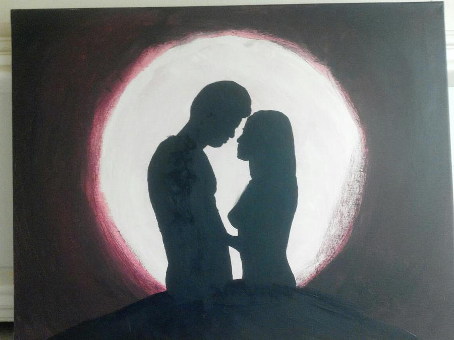 silhouette kiss under moon by BrianSchulz