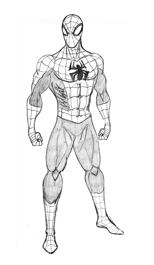 standing spiderman coloring pages | Deadpool And Spider Man Coloring Pages Sketch Coloring Page