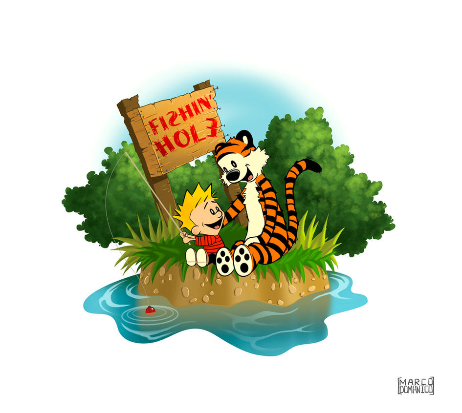 Calvin and Hobbes Gone Fishin' by albundyland