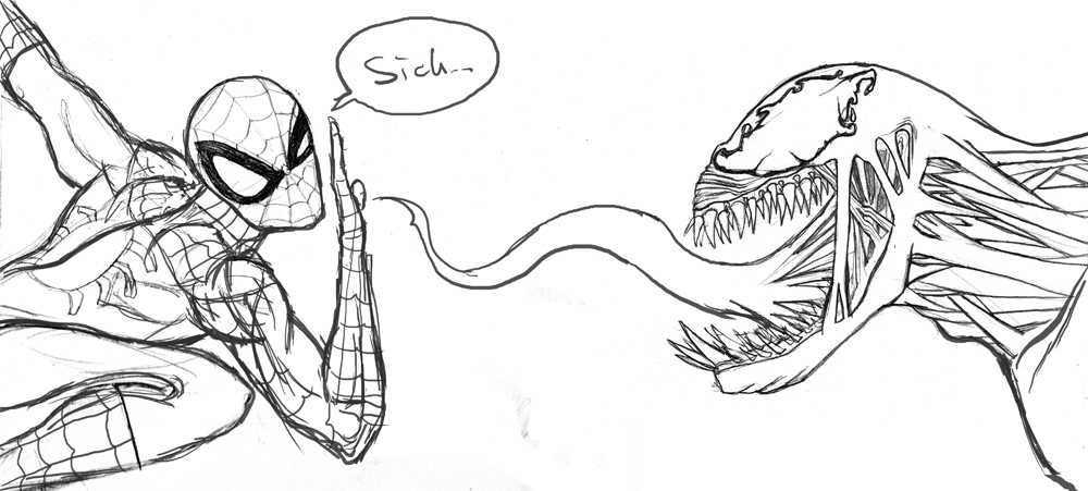 Sketch Spidey Vs Venom by albundyland