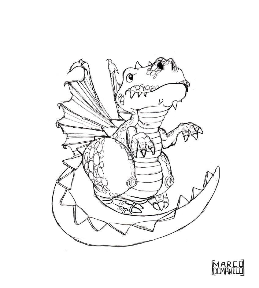Baby Dragon Sketch by albundyland