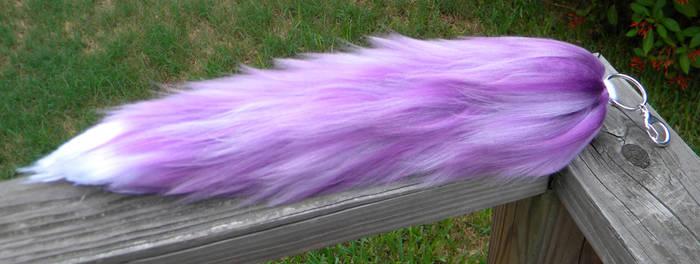 SOLD! 14 inch custom purple fox/wolf yarn tail