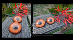 Orange Grunge hand-painted resin eyes - FOR SALE by Black-Heart-Always