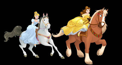 Silver and Gold: Horseback (Belle x Cinderella) by MermaidMelodyEdits