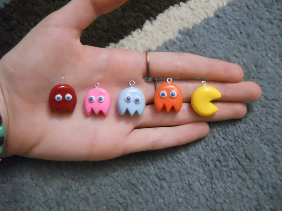 Pacman Polymer Clay Charms by ResurrectedVampire69