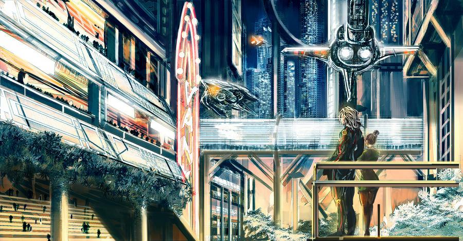 concept art sci fi city by khanshin