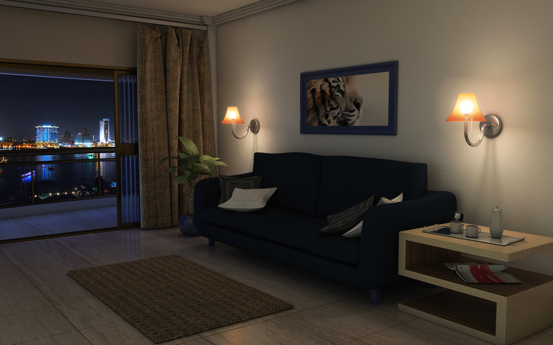 Basic night livingroom by twinshock on deviantart for Living room pics