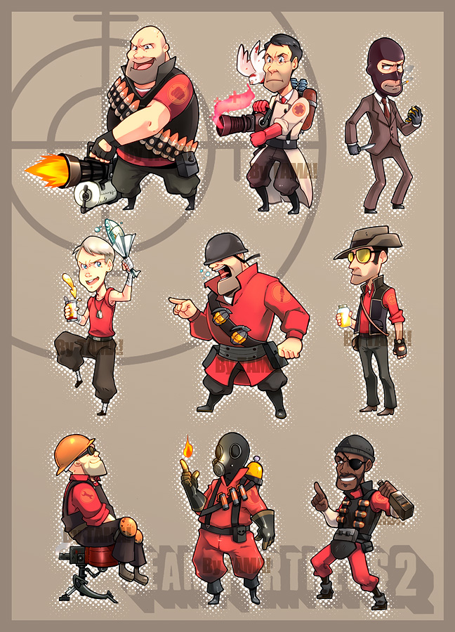 Team Fortress 2 chibi set by LazyTurtle