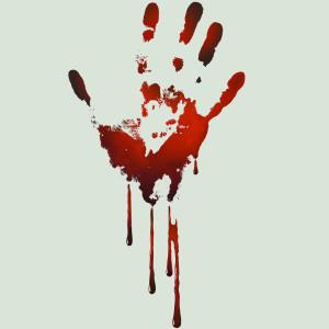 Bloody handprint smear on black