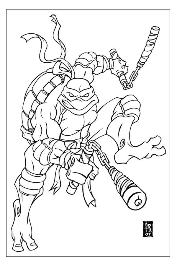 tmnt 2003 michelangelo coloring pages - photo#3