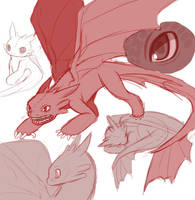 Toothless doodles by AngelofHapiness