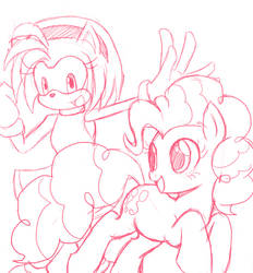 Amy Rose and Pinkie Pie sketch