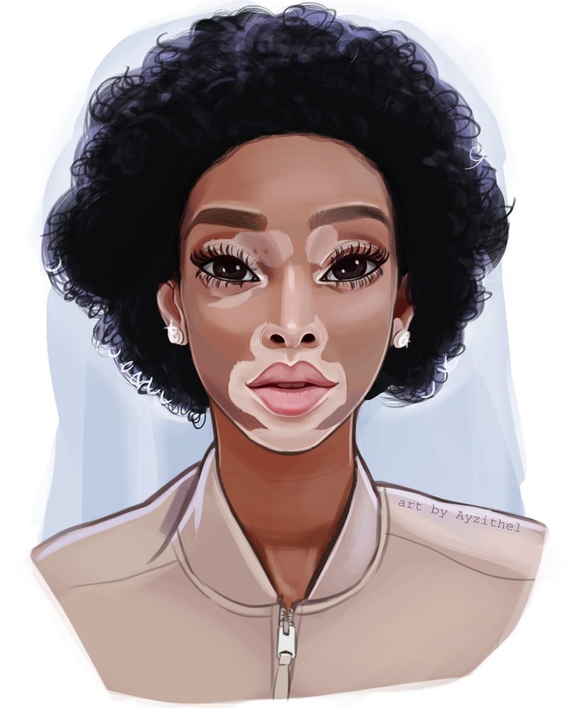 Semi Realistic Digital Portrait Of Winnie Harlow By