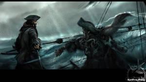 Jack Sparrow fighting Davy Jones by KomyFlyinc@