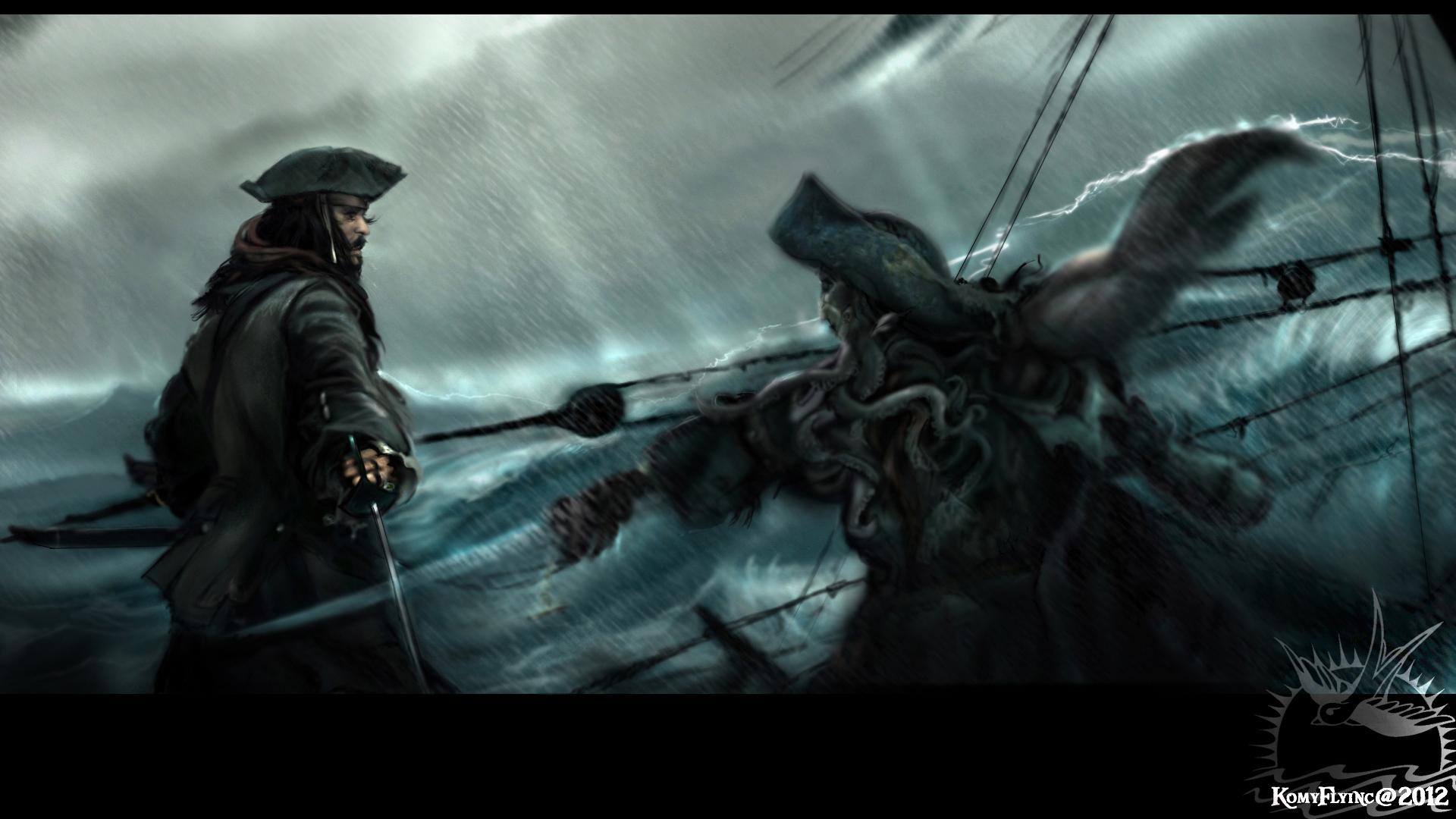 Jack Sparrow fighting Davy Jones by KomyFlyinc@ by KomyFly