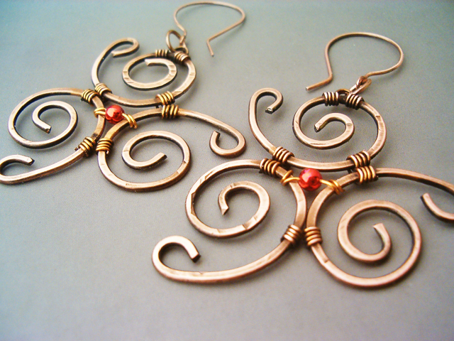 b12ee501a49625 Wire Wrapped Earrings Spiral Hammered Copper by bleek70 on DeviantArt