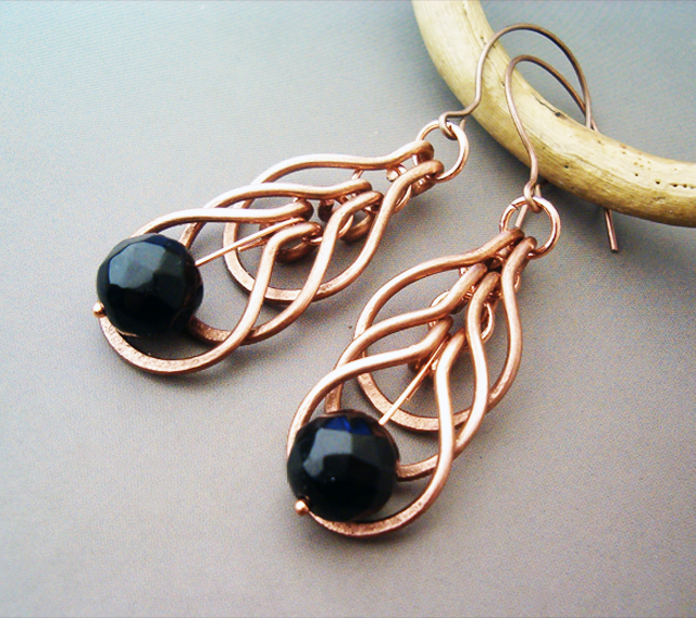 Wire Wrapped Earrings Hammered Copper And Agate By Bleek70 On