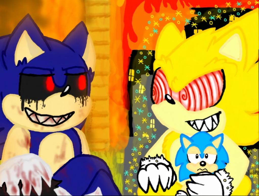 Fleetway Super Sonic and Sonic.exe Meet by Koaaya