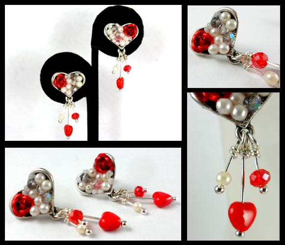 Silver Heart Red Rose Post Earrings by DryGulchJewelry