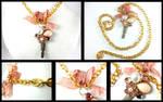 Vintage Pearl Flower Crystal Key Gold Necklace