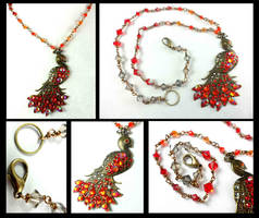 Crystal Phoenix Brass Peacock Necklace by DryGulchJewelry