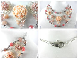 Vintage Silver Pink Brown Pearl Flower Necklace by DryGulchJewelry
