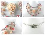 Vintage Silver Pink Brown Pearl Flower Necklace