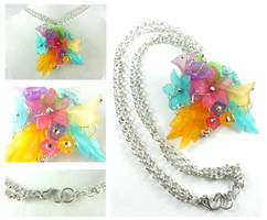 Silver Plated Spring Flowers and Leaves Necklace by DryGulchJewelry