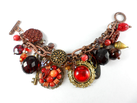 Red Antique Copper Vintage Mixed Media Bracelet by DryGulchJewelry