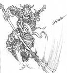 sketch of Chinese warrior