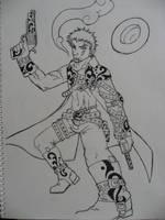 Cowboy - Line art by DeathofSilence