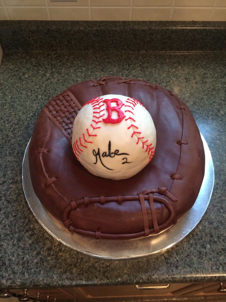 Glove and Baseball Cake by pinkshoegirl