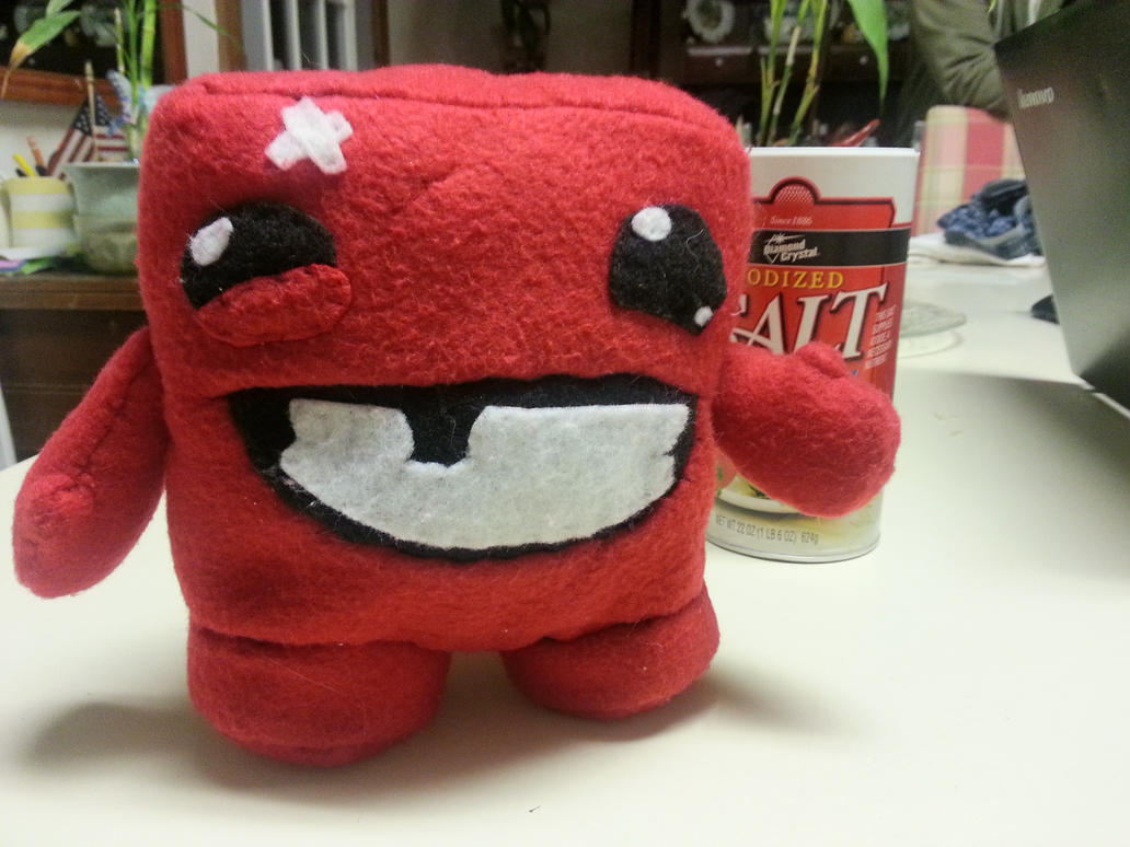 Plush Super Meat Boy by cyberogue