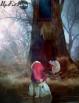 Little girl in the forest with a Cap Rat