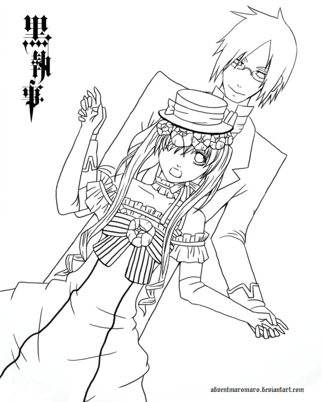 kuroshitsuji lineart by adventmaromaro - Black Butler Chibi Coloring Pages