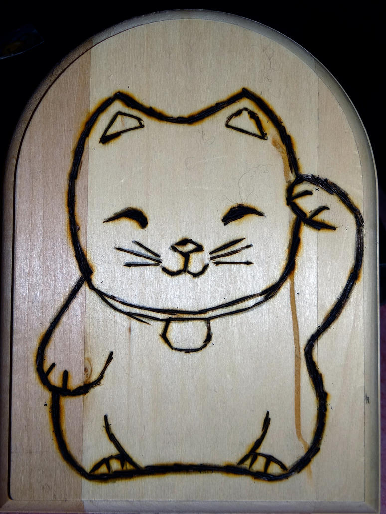Japanese Luck Cat Neko Wood Burning Project Step 1 by Jenn-Coney1976