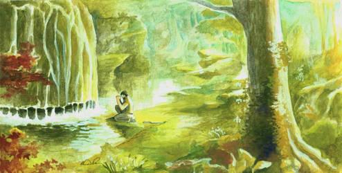 Decebalus Praying at Waterfall by Futurum-Undam