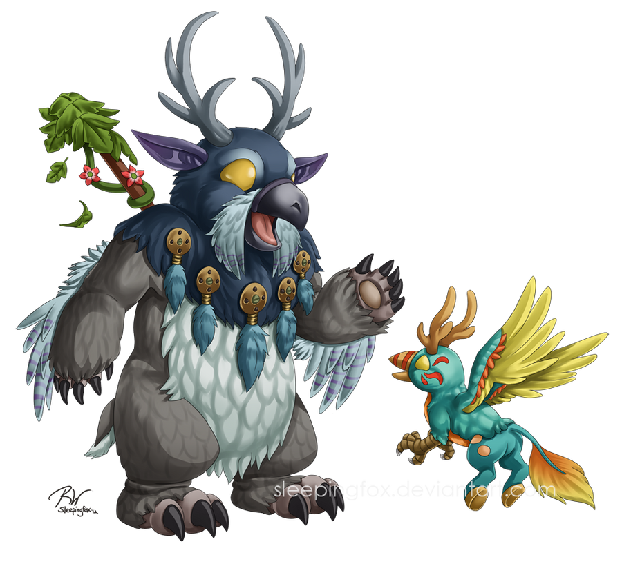 Moonkin and Hippogryph by Sleepingfox