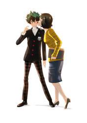 Kawakami and Izuku by MonsterLover12