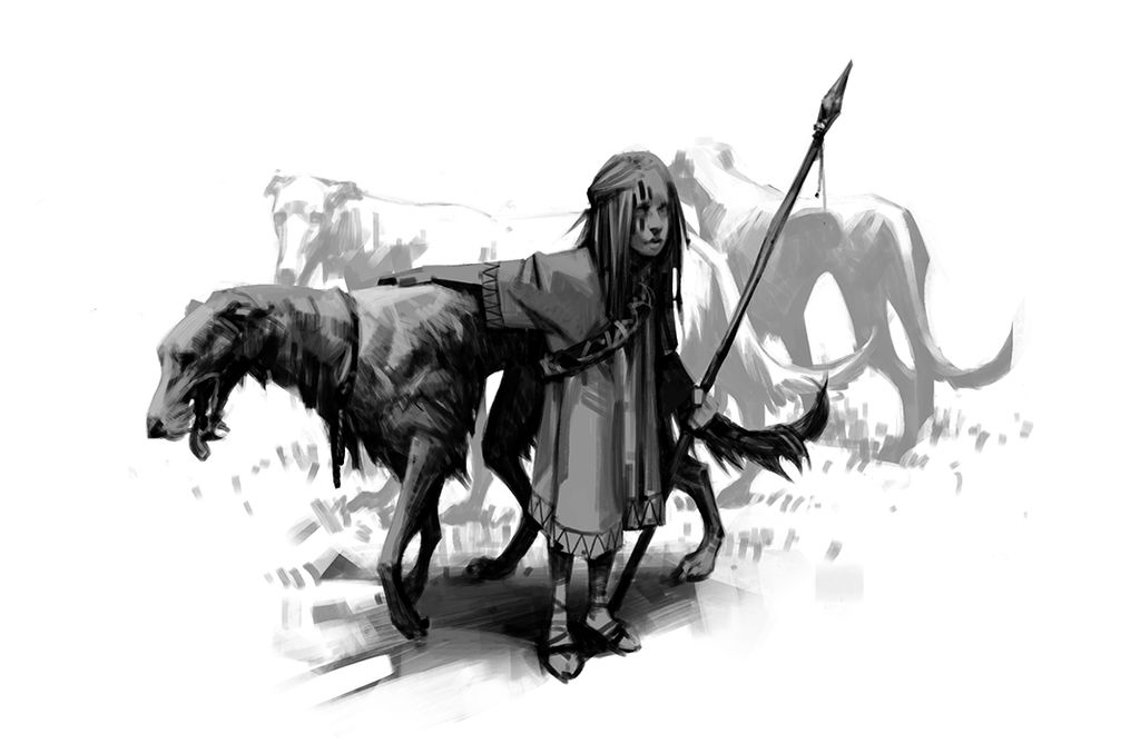 Girl with hounds sketch by Nonparanoid
