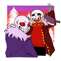 horror Sans and uf!Sans by hobakamuk